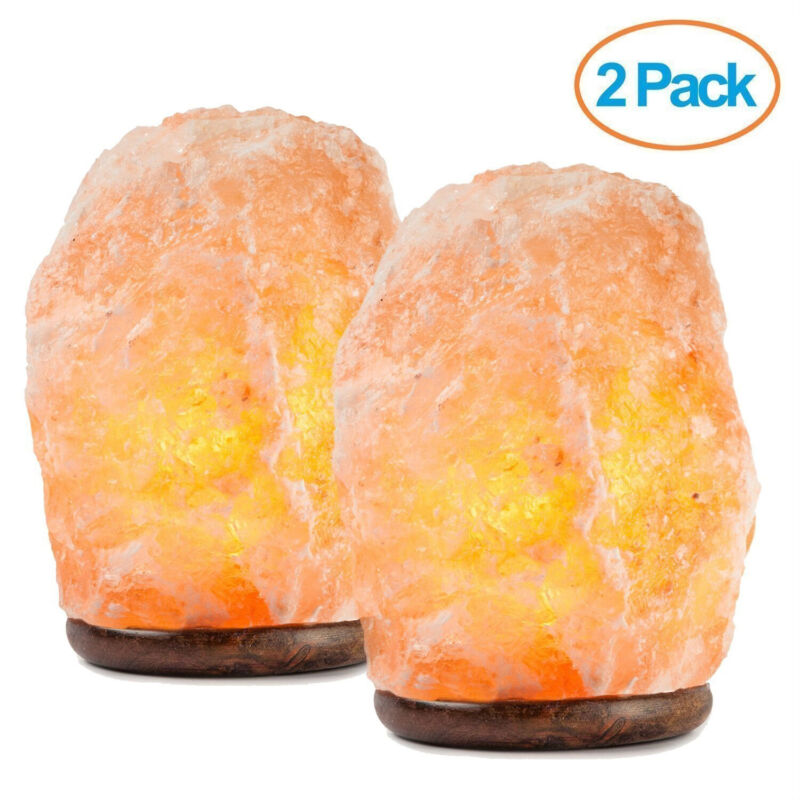 Mockins 2 Pack Natural Hand Carved Himalayan Salt Lamp with Beautiful Wood Base