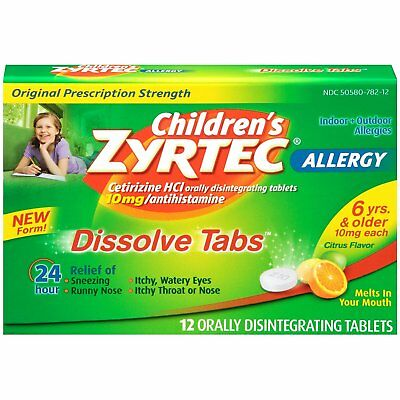 Zyrtec Children's Allergy Dissolve Tablets Citrus 12 Count for sale  Shipping to Canada