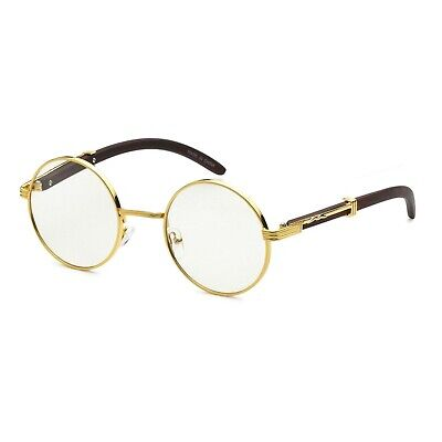 Gold Round Metal Frames Vintage Retro Eye Glasses Clear Lens For Men (Round Eye Frames)