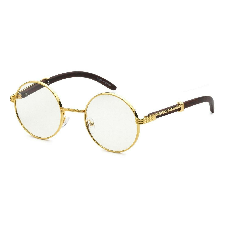 Gold Round Metal Frames Vintage Retro Eye Glasses Clear Lens
