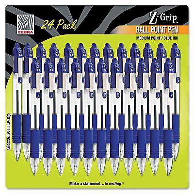 Zebra Z-grip Retractable Ballpoint Pen Blue Ink Medium 24pack