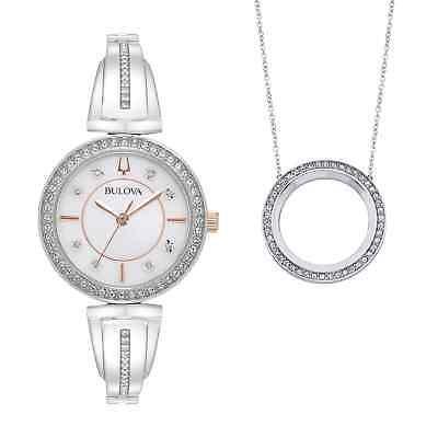 Bulova Women's Quartz Swarovski Crystals Watch and Pendant Box Set 30mm 98X121