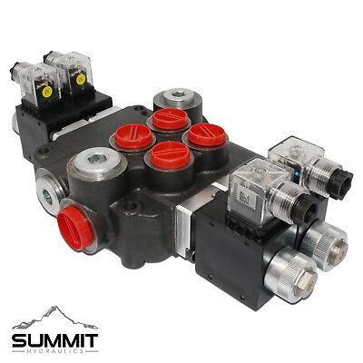 Hydraulic Monoblock Solenoid Directional Control Valve 2 Spool 21 Gpm 12v Dc