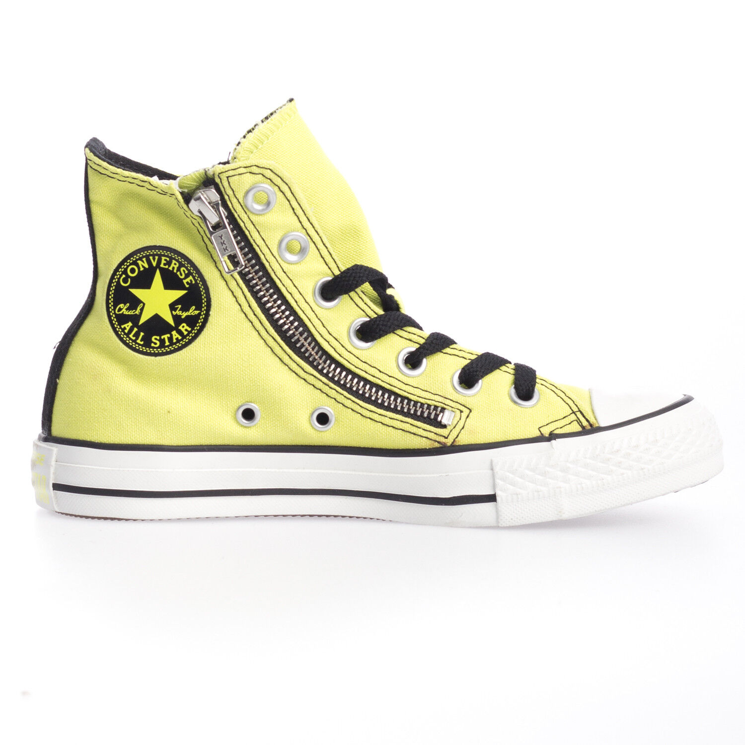 Details about Converse Chuck Taylor Hi Top Yellow Side Zip Damaged Slight Marks Defective