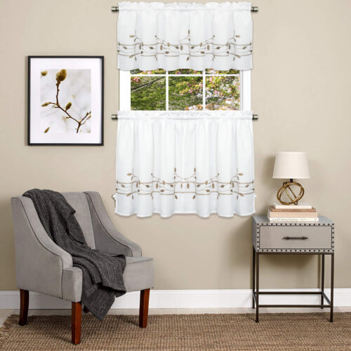 Trellis Scrolling Leaf Pattern Kitchen Window Curtain Tiers or Valance Toast Cornices & Valances