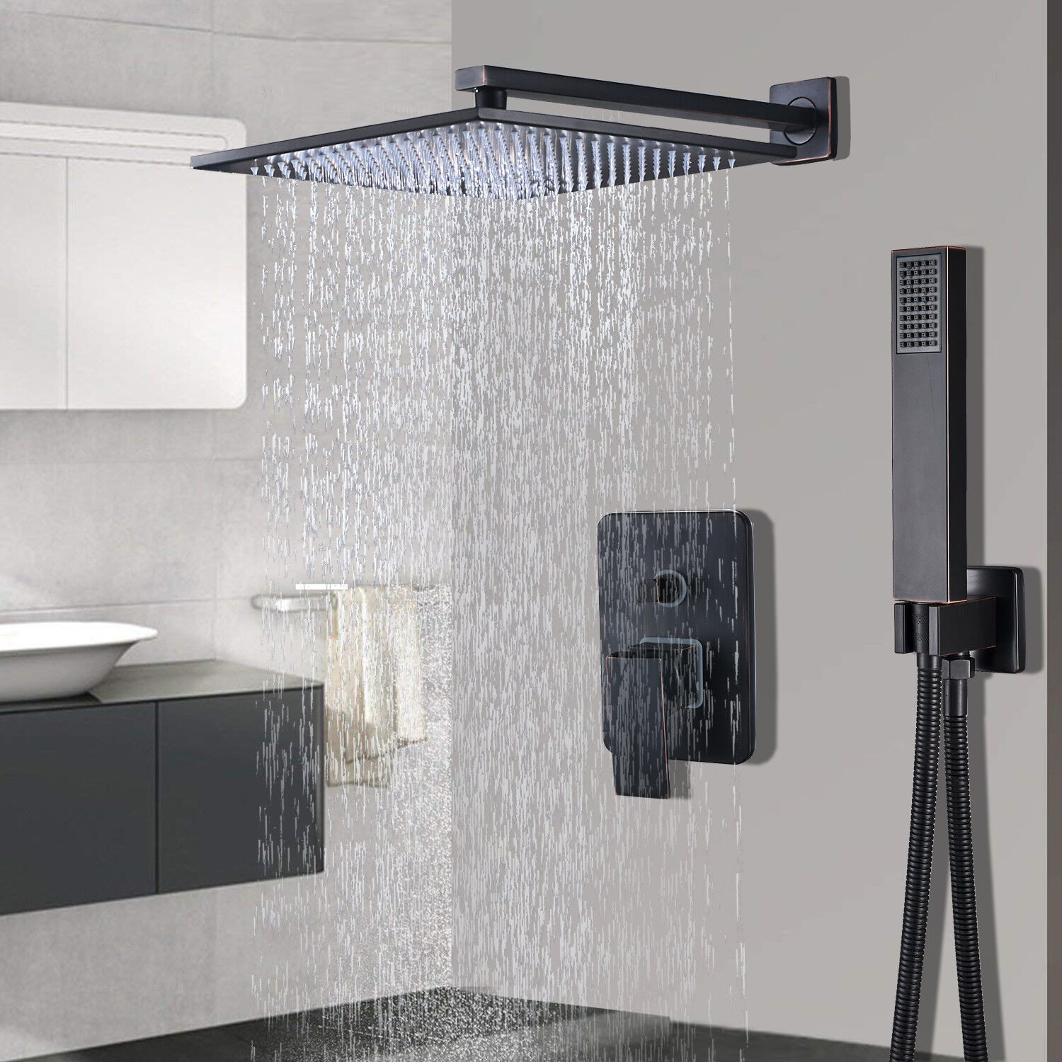 Shower Faucet Combo System 8 inch Rainfall With Hand Shower Oil Rubbed Bronze