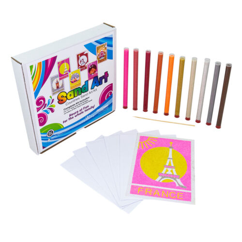 Countries Sand Art Peel And Paint Kit 10 Colors And 6 Designs