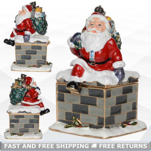 Santa Claus Trinket Box With Hinged Lid Enamel Jeweled Xmas Gift Ornament Decor