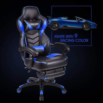 Office Gaming Chair Racing Seat Computer Recliner Executive Footrest Rocker Blue