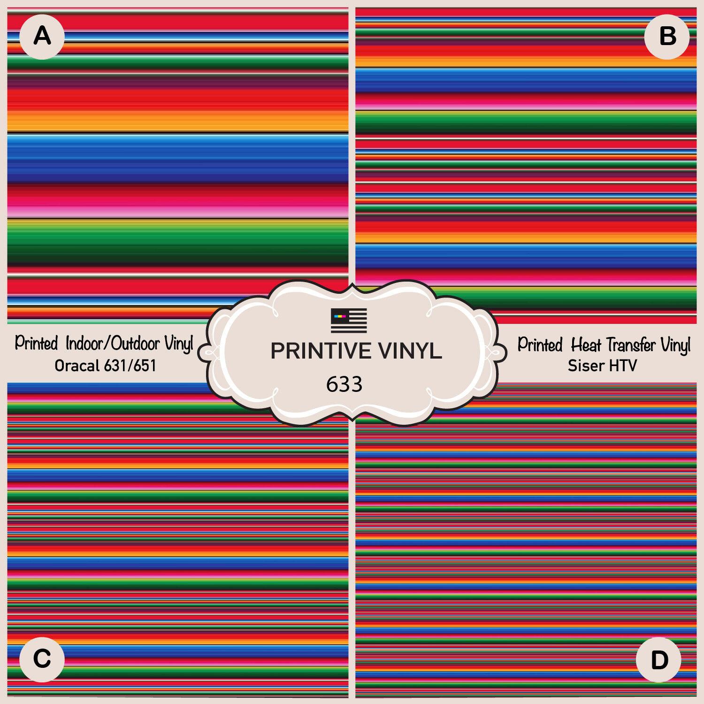 Serape Blanket Pattern Printed Vinyl, Siser HTV, Oracal Adhe
