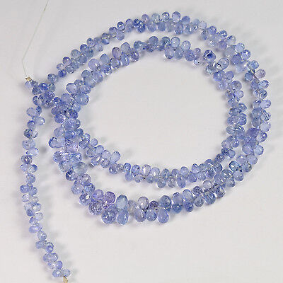 Natural Lavender Purple Blue Sapphire Faceted Teardrop Briolette Bead 16
