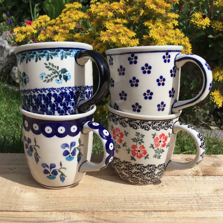 Bunzlauer Keramik Kugelbecher Becher 0.22 L Handarbeit Original Dekor 1185 NEU