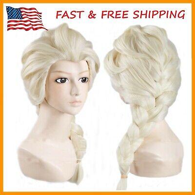 Frozen Princess Elsa Wig Light Blonde Cosplay Costume Anime Wig USA Seller