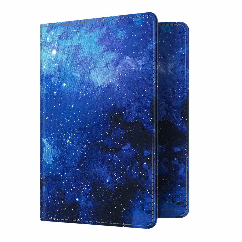 Travel Passport Holder Wallet Holder RFID Blocking Vegan Leather Card Case Cover Starry Sky