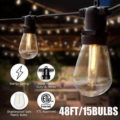 48ft Outdoor Patio Vintage Garden Yard Commercial Grade LED String Lights IP65