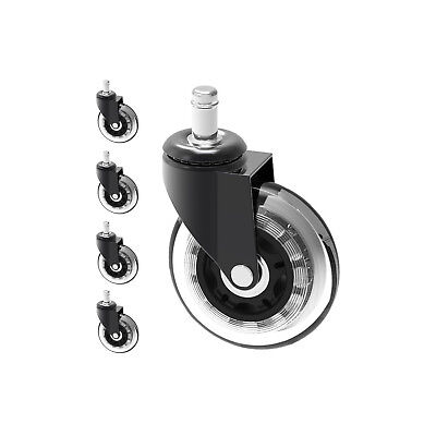Heavy Duty Office Chair Caster Wheels 3 Set Of 5 Swivel Rubber Wood Floor