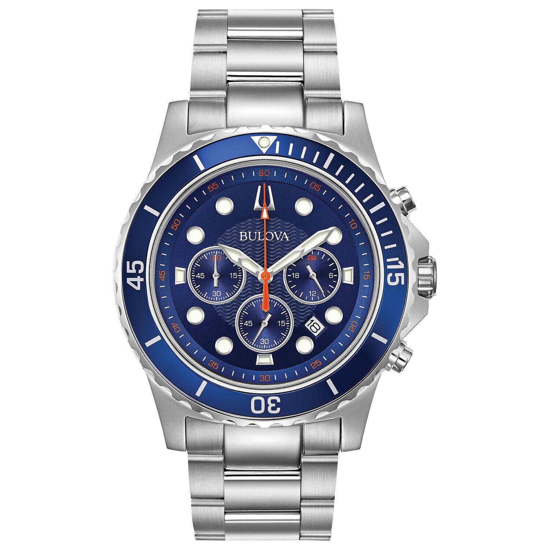 Bulova Men's Quartz Chronograph Date Indicator Blue Dial 42m