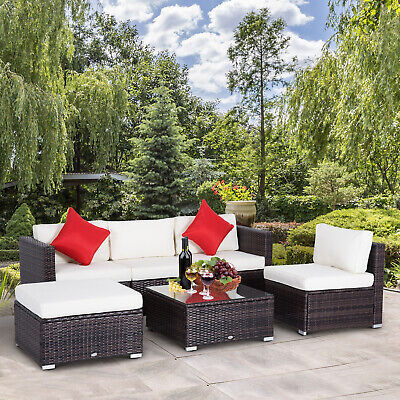 6pcs Deluxe Outdoor Rattan Wicker Sofa Sectional Couch Patio Furniture