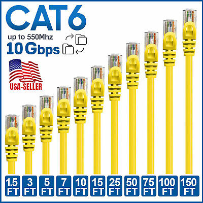 Poe Circle - CAT6 CAT 6 Ethernet Cable Lan Network Internet Patch Cord Yellow POE RJ45 LOT