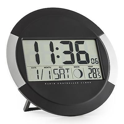 oneConcept Clockwork Digital-Funk-wanduhr Thermometer Kalender Mondphase Ständer