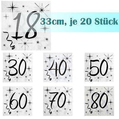 Servietten runder Geburtstag 33cm 20 Stück, Papierservietten Party Geschirr