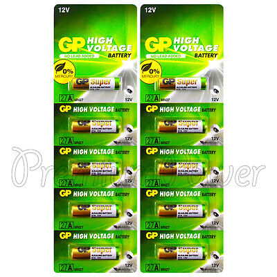 10 x GP 27A Alkaline Super batteries 12V MN27 A27 GP27A E27A EL812 L828 Alarms Batterien 27a 12v Alarm