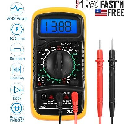 Digital Multimeter Meter Tester Acdc Voltage Auto Ranging Current Ohm Battery