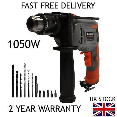 TERRATEK 1050W HAMMER DRILL, POWERFUL VARIABLE SPEED ELECTRIC DRILL