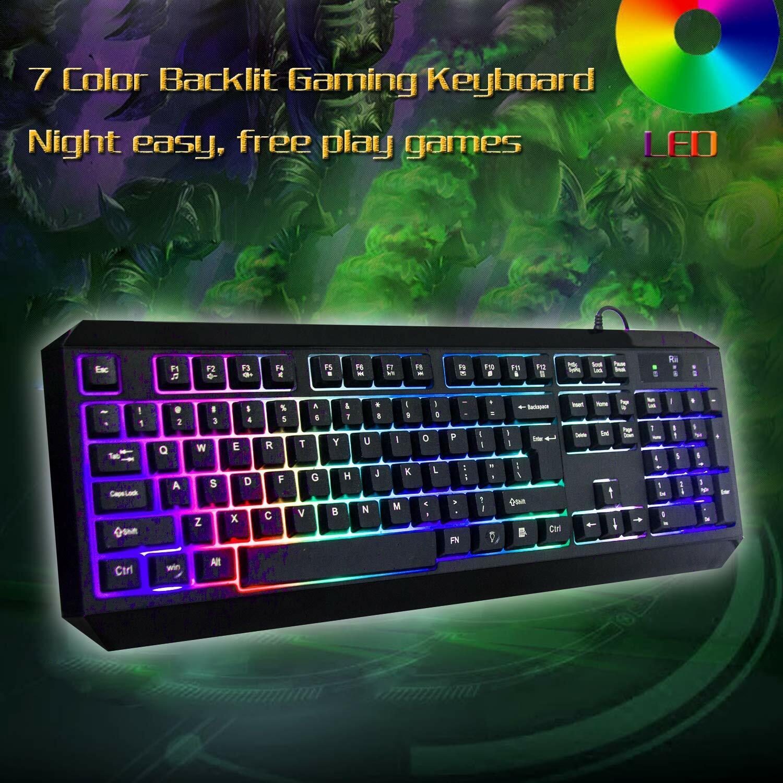 Wired Gaming Keyboard illuminated Light Up 7 Led Backlit Key