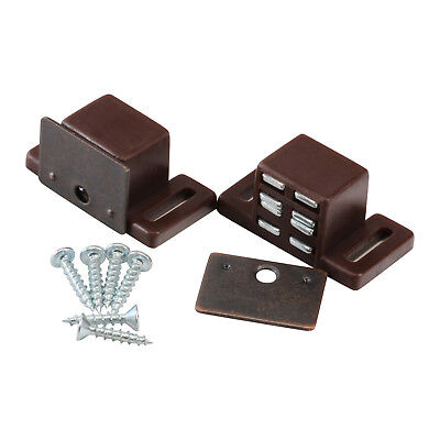 Rok Hardware Heavy Duty High Magnetic Cabinet Door Catch Latch, Brown, 2 Pack