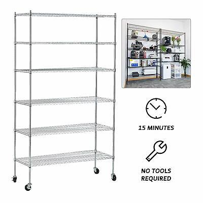 6 Tiers Adjustable Wire Shelves With Wheels Kitchen Shelving Chrome