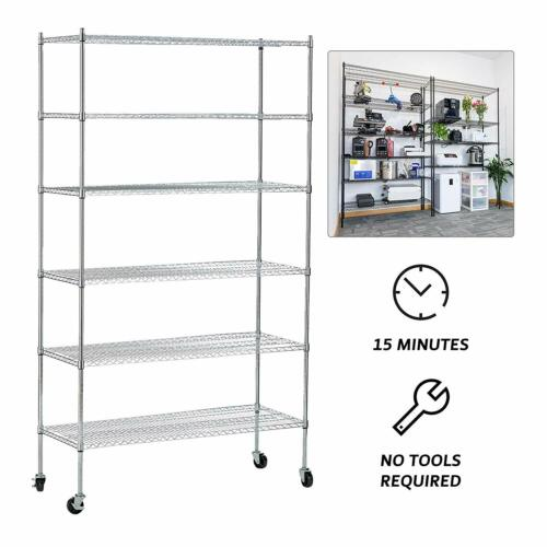6 Tiers Adjustable Wire Shelves With Wheels Kitchen Shelving