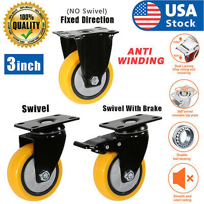 Usa 3 Inch Caster Wheels Swivel Plate Total Lock Brake On Yellow Polyurethane