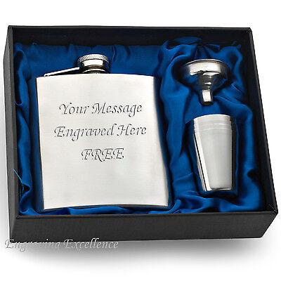 Personalised Engraved 6oz Hip Flask Gift Set. Mens Groom Best Man Birthday Box.