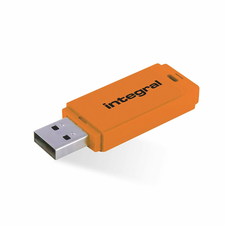 128GB USB 2.0 Flash Drive - INTEGRAL NEON ORANGE
