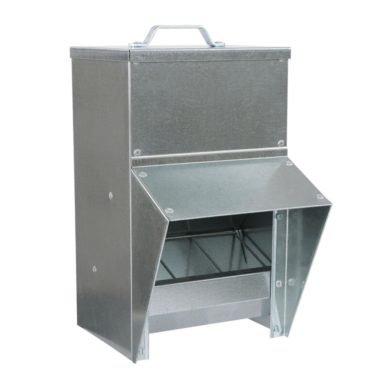 Rural365 Galvanized Chicken Feeder Weatherproof Coop Dispenser 25lbs