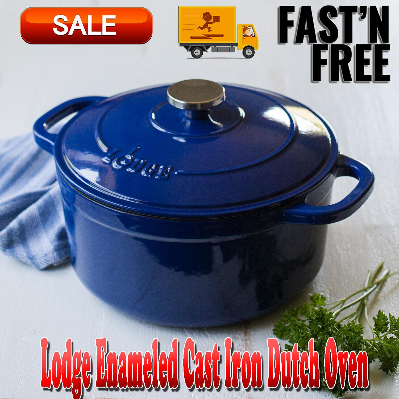 Lodge Enameled Cast Iron 5.5 Qt Dutch Oven, Pots & Pans, Coo