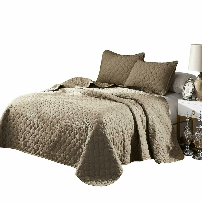 Oversize King/Cal-King Taupe Solid Color Quilted Bedspread C