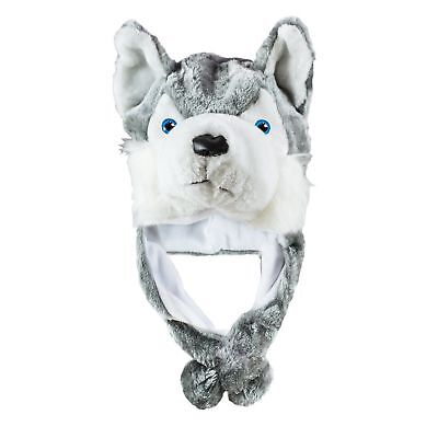 1 pc Husky Timber Wolf Cute Plush Animal Winter Hat Warm Winter Fashion (Short) - Wolf Hat