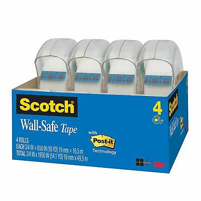 Scotch Wall-safe Tape Standard Width 34 X 650 Inches 4 Rolls 4183