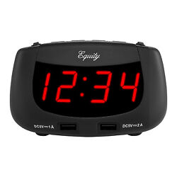 30416 Equity by La Crosse 0.9 Red LED Display Dual USB Digital Alarm Clock