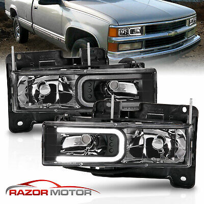 88-1998 Chevy C/K 1500/2500/3500 GMC Sierra LED Bar Black Headlight Bumper Lamp