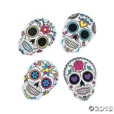 12 Halloween DAY OF THE DEAD Dia de Los Muertos SUGAR SKULL COASTERS Decorations - Dia De Los Muertos Halloween Decorations