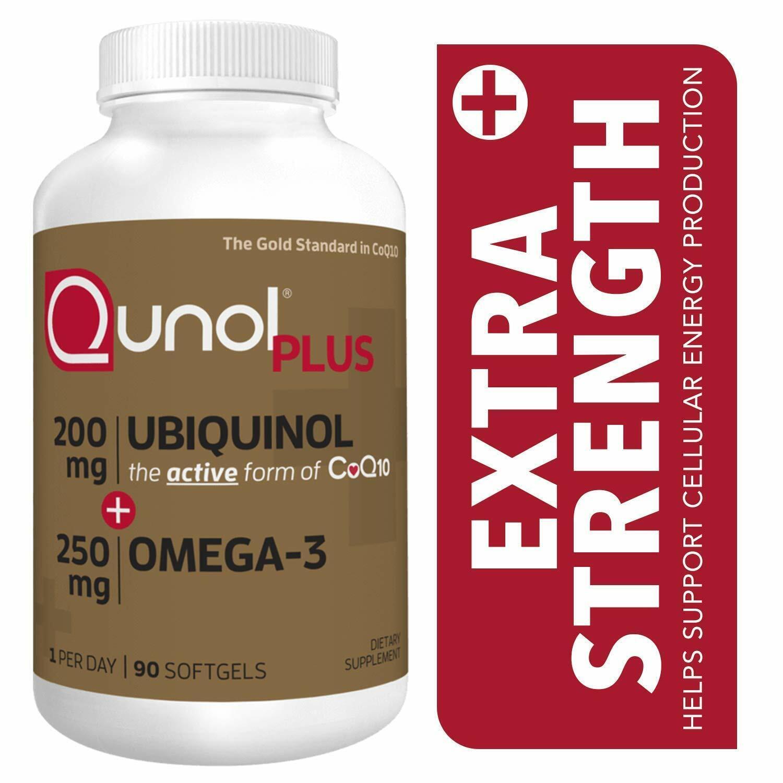 Qunol Plus Ubiquinol CoQ10 200 mg + Omega 3 Fish Oil Extra S
