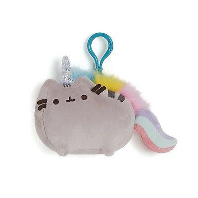 Gund 4048886 Pusheen the Grey Cat Backpack Key Clip Pusheenicorn Unicorn