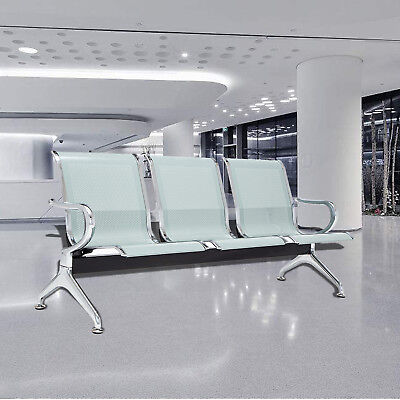 3seat Airport Reception Waiting Room Bench Office Guest Chair Steel Frame Silver