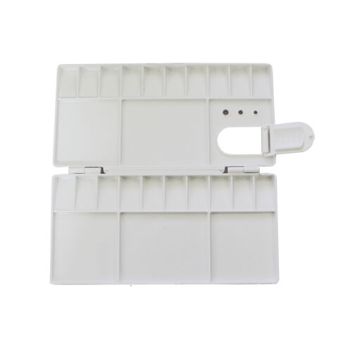 White Plastic Folding Paint Mixing Palette with 25 Wells & Thumb Hole 21cm