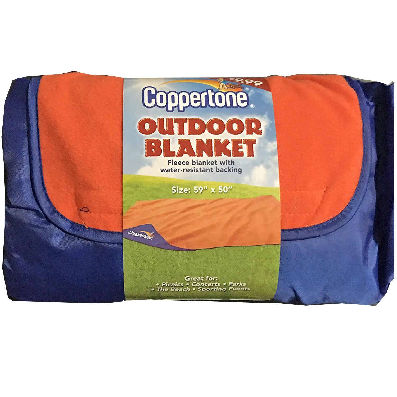 Beach Outdoor Blanket Coppertone Fleece Water Resistant Back
