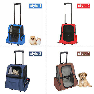 Pet Carrier Dog Cat Rolling Backpack Travel Wheel Luggage Bag Airline -
