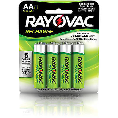 Rayovac AA Rechargeable 8/pack - 1350 mAh NiMH (LD71-8OP) Recharge Battery AA8